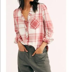 Free People Always Forever Plaid Buttondown